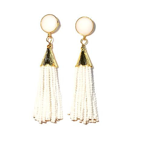 Cha Cha Cha Tassel Earrings, White