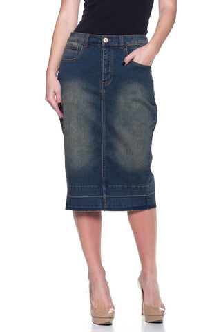 Knee Length Denim Skirt