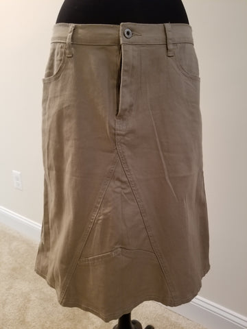 Knee Length Khaki Skirt