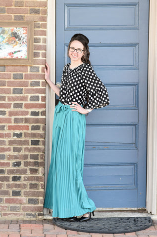 Pleated Bow Maxi Skirt