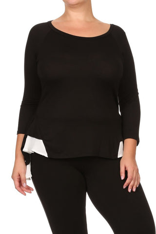 Peplum Top with High Low Hem