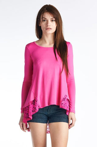 Blouse with Lace Hem