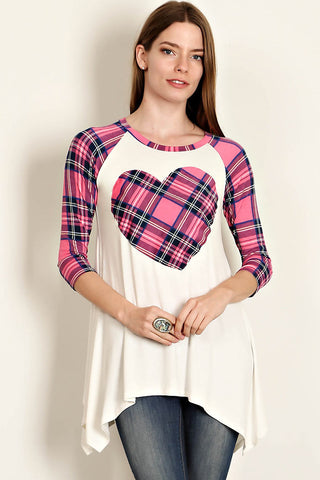 Plaid Heart Raglan Top