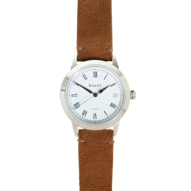 36 Automatic – Steel w/ Tan Suede Strap - Boetti - The Worlds First 36mm Automatic Watch For Men