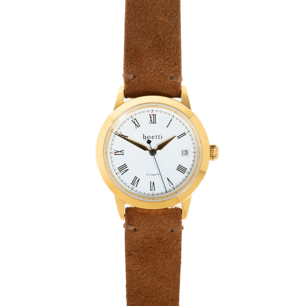 36 Automatic – Gold w/ Tan Suede Strap - Boetti - Are You Man Enough to Wear a Small Watch?