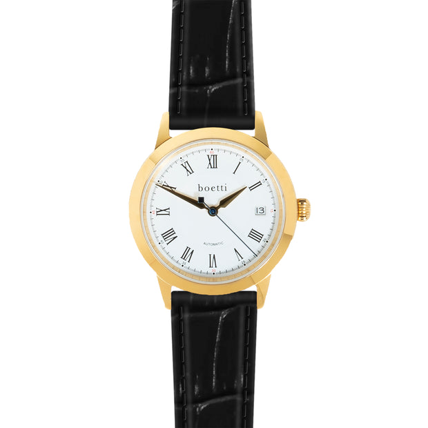 36 Automatic – Gold w/ Jet Black Strap - Boetti - The Worlds First 36mm Automatic Watch For Men