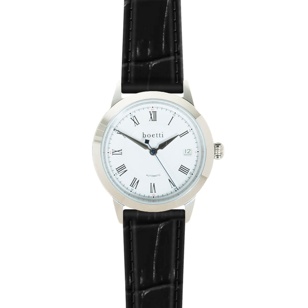 36 Automatic – Steel w/ Jet Black Strap - Boetti - The Worlds First 36mm Automatic Watch For Men