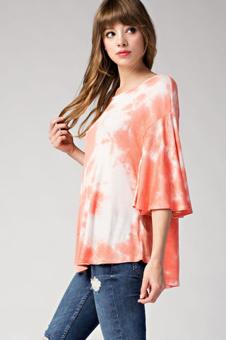 PEACHES & CREAM Tie Dye Ribbed Top