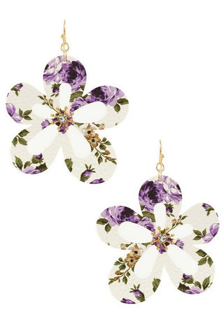 FLOWER BLOOM Cutout Floral Print Earrings