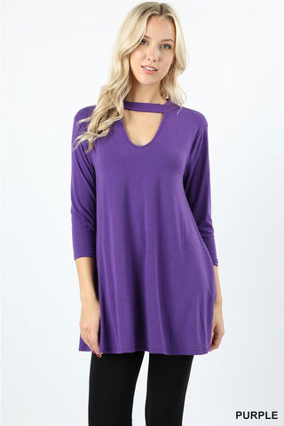 KHLOE Choker-Neck Pocket Tunic