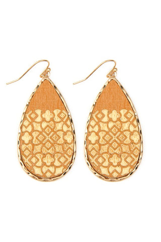 Lattice Mustard Teardrop Wooden Earrings