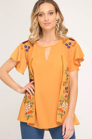 COZUMEL Embroidered Woven Top