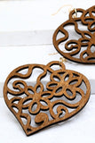 WOODEN HEART Filigree Earrings
