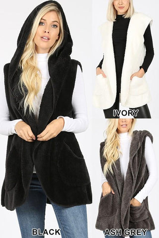 FUZZY WUZZY Hooded Faux Fur Vest w/Pockets