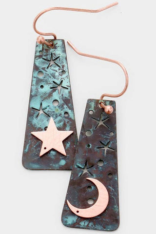 Star and Moon Brass Metal Dangle Earrings