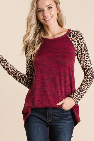 BURGUNDY LEOPARD Animal Arms Top