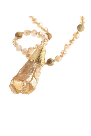 Long Y Necklace Natural Stone Pendant