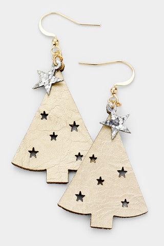 Faux Leather Cut-Out Star Christmas Tree Earrings