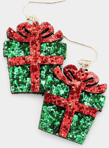 Christmas Gift Dangle Glitter Earrings