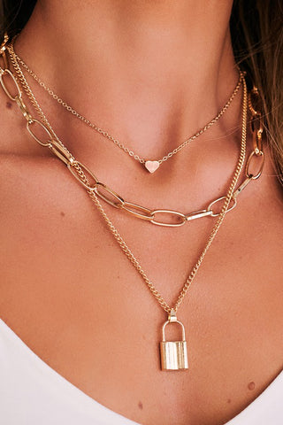 BOHO Multi Layered Lock Heart Long Oval Chain Necklace