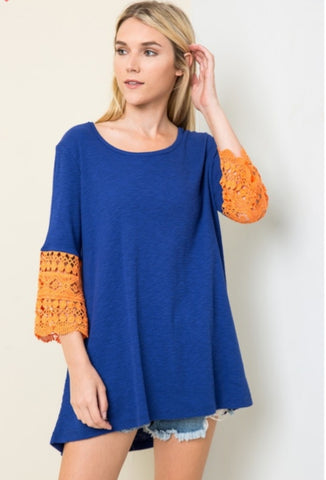 ORANGE CRUSH Lace Bell Sleeve Hi/Lo Tunic Top
