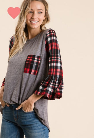 PLAID PERFECT Ruffled Tunic Top!