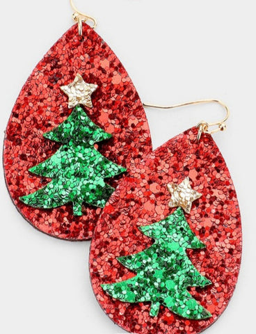 Christmas Tree Teardrop Glitter Earrings