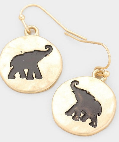 Elephant Gold Disk Earrings