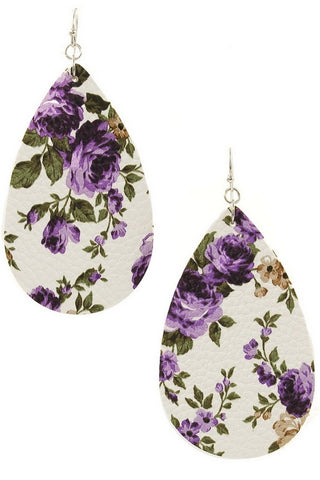 TEARDROPS & FLOWERS Faux Leather Earrings