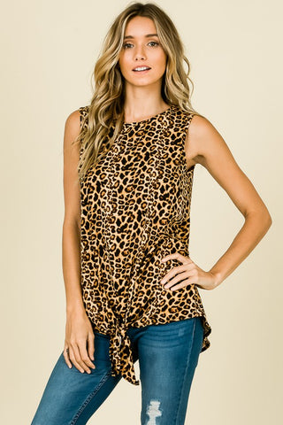 WILD & SOFT Animal Print Knotted Top