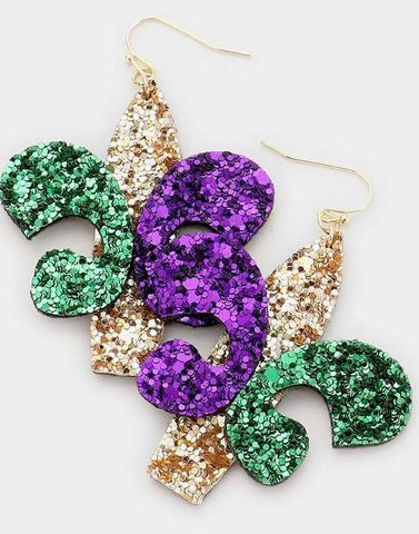Mardi Gras Glitter Fleur de Lis Multi-Colored Earrings