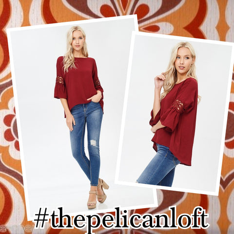 JULIET Bell Sleeve Burgundy Blouse with Crocheted Lace
