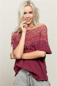 FREE SPIRIT Boho Crochet Knit Top