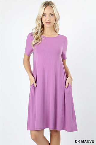 Flared Pockets Dress with Pockets