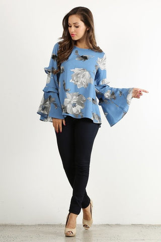 COMING UP ROSES Triple Ruffle Sleeve Top