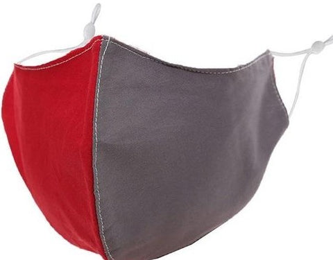 Red/Grey TEAM COLOR 3D Cotton Face Mask Adj. Ears