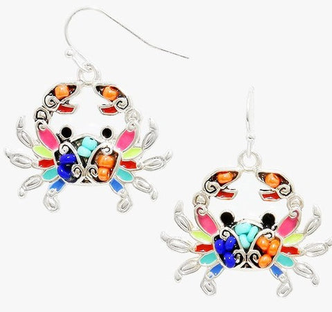 Sea Life Beaded Crab Earrings