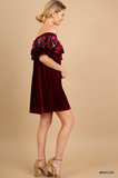 VELVET FIESTA Embroidered Dress