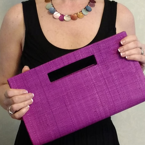 Vegan, fair-trade, sustainable purple clutch, purse from Bagnanimous