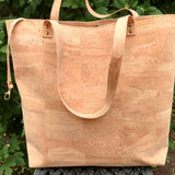 cruelty-free and vegan, sustainable natural cork tote from Bagnanimous; handmade in Spain by Xianna