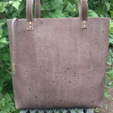 cruelty-free and vegan, sustainable brown cork tote from Bagnanimous, handmade in Spain by Xianna Shop