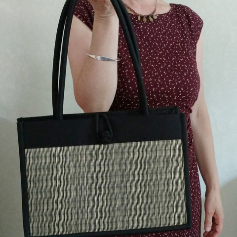 Vegan, fair-trade tatami bag; cruelty-free handbag from Bagnanimous