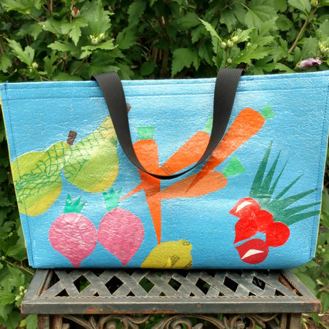 Upcycled plastic box totes (flower and veggie designs available)