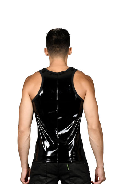 Andrew Christian Playera Tank Top Músculos sin Mangas Cierre Slick Malla Lateral