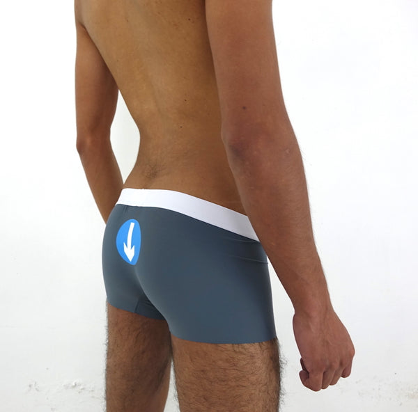 Boxers iconoclast by VOGUETI color gris símbolo diseño Pasivo Bottom Azul