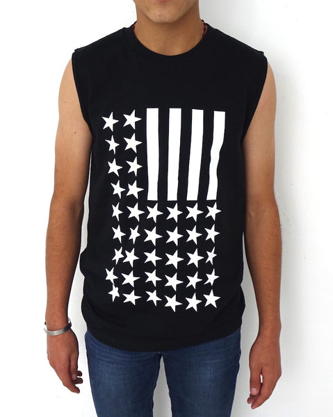 Playera sin Mangas Tank Top Stars Stripes Barras Estrellas Negra iconoclast by VOGUETI
