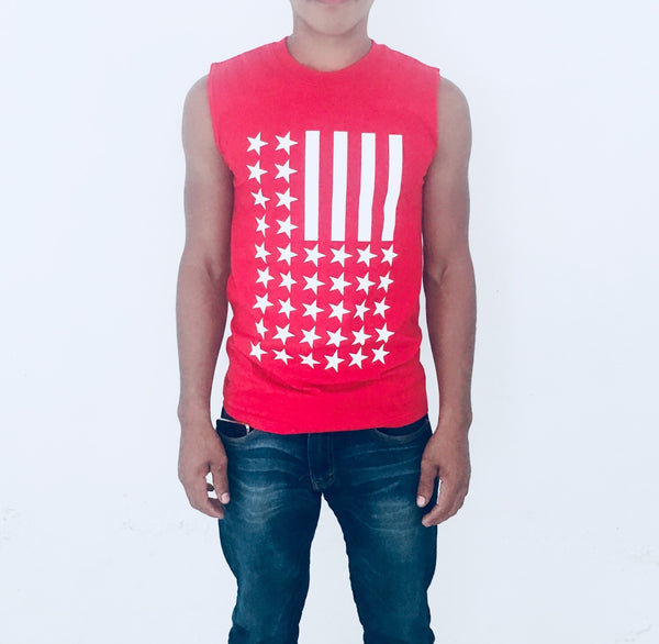 Playera sin Mangas Tank Top Stars Stripes Barras Estrellas Roja iconoclast by VOGUETI