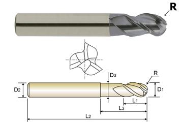 EG908060 6.0 x 6 x 9 x 12 x 75 R3.0 N5.6 3 FLUTE 40 DEGREE HELIX LONG LENGTH BALL NOSE WITH NECK TICN COATED CARBIDE End Mill