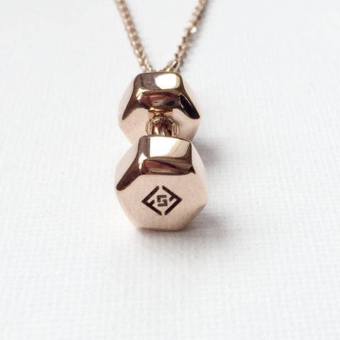 585c8fa1830 Fit Style Brand Women's 18K Gold Solid Stainless Steel Dumbbell Necklace