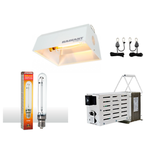 Light System Bundle Kit HPS Bulb Radiant Hood 600w Ballast 120/240v w/ Ratchets - TheHydroPlug